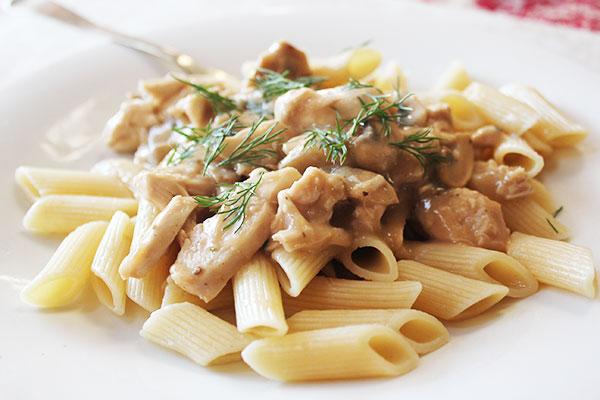 Penne Alfredo with Chicken  Mushroomsaninas recipes