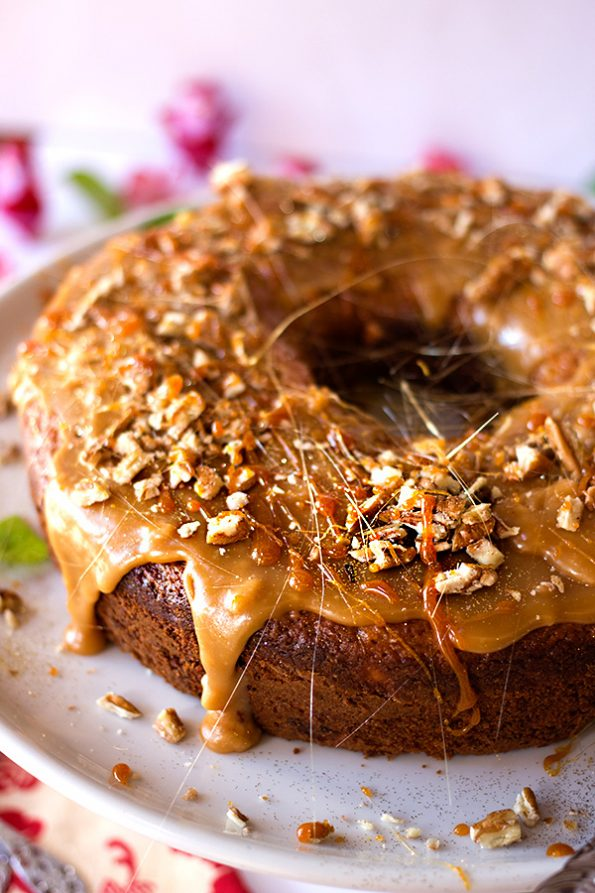 Banana Cake with Butterscotch Sauce and Pecans