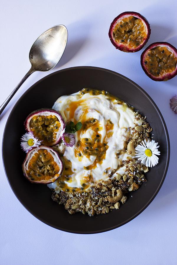 Passion Fruit, Yogurt and Nutty Granola Bowl - aninas recipes