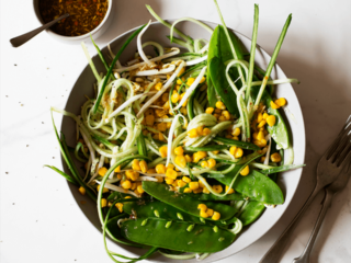 Cucumber, Corn and Sprout Salad with a Thai Dressing