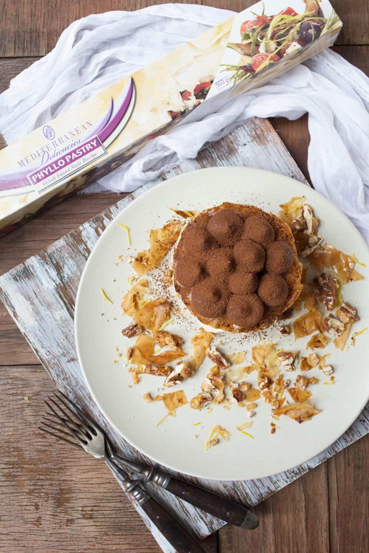 Vegan Choc Mousse and Citrus Cream Phyllo Stack