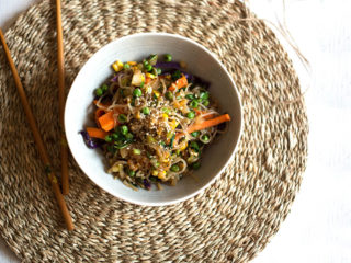 Vegetable and Fried Noodle Bowl